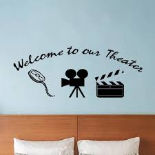 Vwaq Home Movie Theater Decor Wall Decal Welcome To Our Theater Wall Art Walmart Com Walmart Com