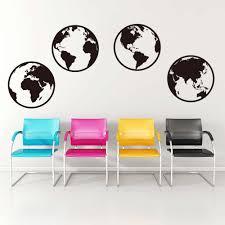 Large Globe Word Map Worldwide Wall Sticker Office Nursery Travel World Map Wall Decal Bedroom Living Room Vinyl Decor Set Of 4 Wall Stickers Aliexpress