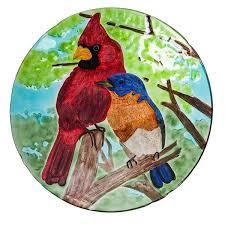 blue bird glass bird bath