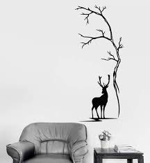 Vinyl Wall Decal Beautiful Deer Tree Animal Nature Hunting Stickers Un Wallstickers4you