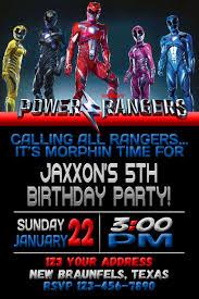 Power Rangers Invitation 4x6 5x7 Fiesta Ninos Cumpleanos Hombre