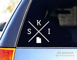 Amazon Com Salt City Graphics Ski Utah Decal Snow Skiing Car Decal Bumper Sticker 5 Inches Wide White Automotive