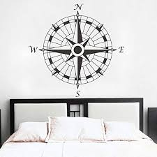 Amazon Com Mairgwall Compass Wall Decal Vinyl Compass Wall Sticker Compass Rose Wall Decal Wall Graphic Wall Mural Home Art Wall Decoration F Black Home Kitchen