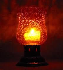 red metal glass tea light holder