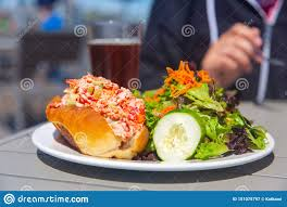 Lobster Roll With Salad And Beer Stock ...