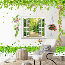 Small Fresh Wall Stickers Self Adhesive Living Room Personality Creative Wall Decorations 3d Stereo Fake Window Indoor Wall Painting
