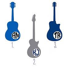Amazon Com Custom Guitar Monogram Initials Decal Sticker For Yeti Cup Tumbler Laptop Or Car Window Accessories For Men You Choose Size And Color Handmade