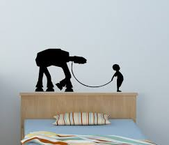 Boy Leading At At Wall Decal Star Wars Room Decor Baby Nursery Etsy