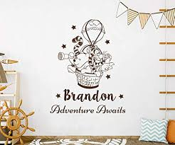 Amazon Com Winnie The Pooh Wall Decals Boy Girl Name Wall Sticker Adventure Awaits Decal Personalized Name Classic Pooh Decor Winnie The Pooh Wall Art Nursery Bedroom Ns1136 Handmade