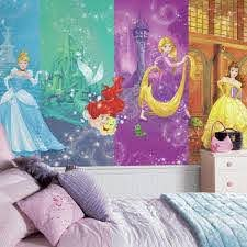Roommates 72 In W X 126 In H Disney Princess Scenes Xl Chair Rail 7 Panel Prepasted Wall Mural Jl1391m The Home Depot