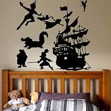 Amazon Com Peter Pan Pirates Ship Wall Decal Cartoon Ship Pirates Hook Wall Sticker Kids Room Teenager Room Decor Vinyl Wallpaper 57x60cm Baby