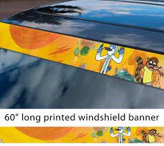Buy 60 Cartoon Regular V1 Mordecai Rigby Rick Morty Sun Strip Printed Windshield Car Vinyl Sticker Decal