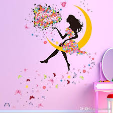 Butterfly Princess Wall Stickers Decal For Home Decor Moon Girl Mural Art Kids Bedroom Living Room Wall Decoration Art Stickers For Walls Art Wall Decal From Valnur 4 03 Dhgate Com