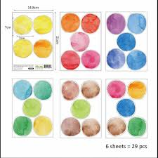 29pcs 1set Children Room 6cm Dot Watercolor Wall Sticker Color Circle Wall Decal Cute Art Stickers For Kid S Bedroom Gift Aliexpress