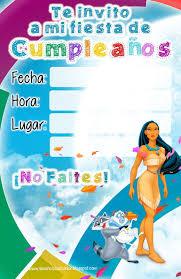 Invitaciones Cumpleanos Princesas Disney Pocahontas Jpg 1040 1600