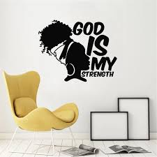 African Girl Wall Decal God Is My Strength Quotes Africa Woman Bedroom Living Room Home Decor Vinyl Window Stickers Mural Wall Stickers Aliexpress