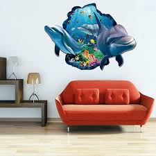 41 Off 2020 Active Removable 3d Cartoon Dolphin Ocean Wall Art Sticker In Colormix Dresslily