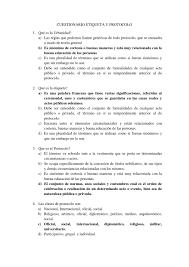 Cuestionario Etiqueta Y Protocolo By Jannet Zambrano Issuu