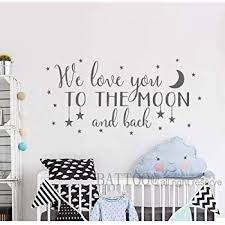 Amazon Com Battoo We Love You To The Moon And Back Wall Decal Nursery Wall Decal Moon And Stars Nursery Decals Children Wall Decor Nursery Wall Decals 30 Wide 15 Tall Dark Gray