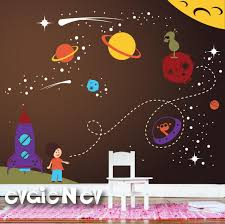 Spaceship Wall Decals Nursery Outer Space Stickers With Etsy
