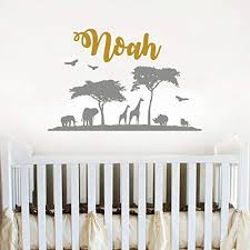 Amazon Com Safari Personalized Wall Decal Nursery Baby Name Wall Decor Sticker Personalized Name Wall Decals For Boys Custom Nature Wall Decal African Nursery Decor Vs30 Handmade