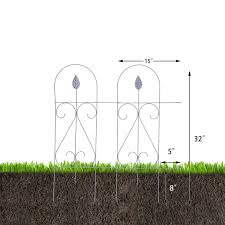 Edging Fence Metal Decorative Garden Barrier Panels 15inx32in 9 Pieces Agfabric