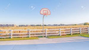 Panorama Empty All Weather Exterior Basketball Court Surrounded Stock Photo Picture And Royalty Free Image Image 137189229