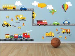 Construction Transportation Train Wall Decals Kids Stickers Etsy Boys Wall Decals Kids Wall Decals Nursery Wall Decals