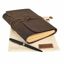 leather journal lined paper gift set