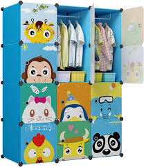 Amazon Com Kousi Kids Dresser Kid Clothes Storage Organizer Baby Dresser Kid Closet Baby Clothes Storage Cabinet For Kids Room Baby Wardrobe Toddler Closet Childrens Dresser Blue 8 Cubes 2 Hanging Sections Home