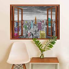 Amazon Com New York Vinyl Decal Sticker Nyc Cityscape Monochrome Photograph With Colorful Buildings Urban Architecture Home Decorations Multicolor 36x48 Inch Home Kitchen