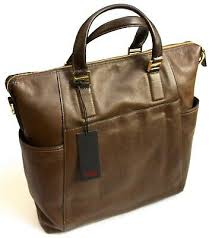 brown leather tote bag briefcase