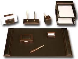 walnut leather 10 piece desk set