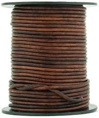 brown distressed round leather cord 2mm