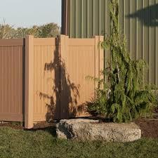 Veranda 4 Ft W X 6 Ft H Cedar Grove Chestnut Brown Vinyl Privacy Fence Gate 8898325ghd The Home Depot