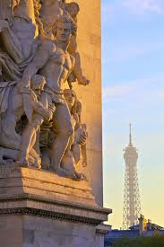 arc de triomphe with eiffel tower in