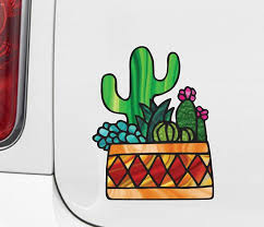 The Decal Store Com By Yadda Yadda Design Co Clr Car Potted Cactus Succulent Plants D3 Stained Glass Style Vi