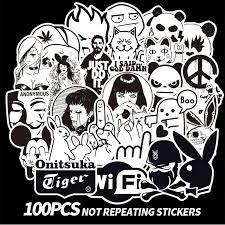 100pcs Black White Stickers Skateboard Graffiti Laptop Luggage Car Decal Skate E Stickers Decals