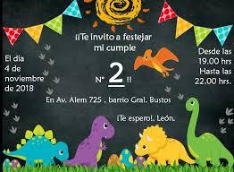 Invitacion Digital Para Cumpleanos Tematica Dinosaurios Bebe
