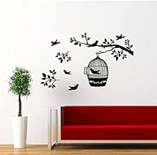 Bird Cage Wall Decal Tree Branch Decals Birds Wall Vinyl Sticker Home Interior Wall Decor For