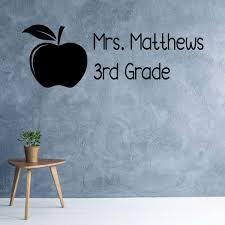 Personalized Name Teacher Wall Decal Apple Grade Classroom Vinyl Decal Customvinyldecor Com