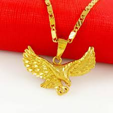 big eagle pendant yellow gold filled