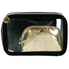 black and gold cosmetic bag 3 piece set