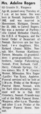 Adeline Fahrenkrug Rogers Waupaca 1971 Death - Newspapers.com