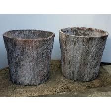 faux bois terra cotta planter set