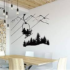 Amazon Com Ikgjad Skiing Wall Decal Living Room Skier Ski Lift Chair Mountain Pine Tree Sticker Winter Sports Vinyl Wall Stickers Home Decor 50x42cm Kitchen Dining