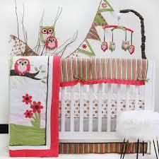 pink owl 10 piece crib bedding set