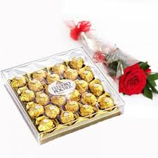 send ferrero chocolate with rose