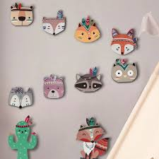 Nursery Room Decor Nordic Fox Bear 3d Wall Stickers For Fox Kids Rooms Wall Stickers Animals Scandinavian Feather Wall Stickers Wall Stickers Aliexpress