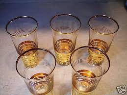 fancy gold striped drinking glasses